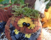 Trio of Jacks Bowl Fillers, Primitive Jack o'lantern, Rustic Halloween, Spooky, Homespun Pumpkins,October, Fall, Autumn, Harvest, FITOFG