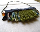 SALE The Artemis Kanzashi Folded Fabric Necklace XII in Olive, Avocado, Charcoal, Grey, Blue, Cream, Amber, Liberty of London
