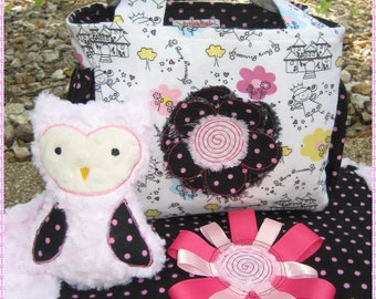 Baby Girl 3 Piece Gift Set, Diaper Bag, Plush Owl, Baby Blanket