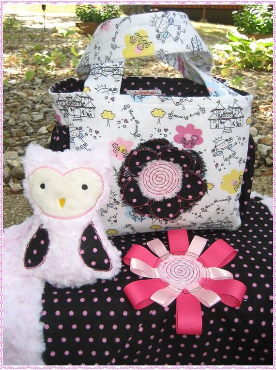 Baby Girl 3 Piece Gift Set, Diaper Bag, Plush Owl, Baby Blanket