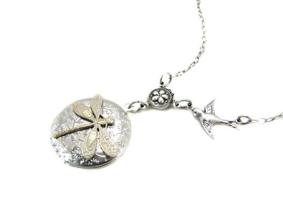Locket Necklace Silver Locket Dragonfly Jewelry
