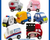 City & Emergency Cars - PDF Pattern (Garbage Truck, Police Car, Ambulance, Fire Truck, Car, Ice Cream Truck, Mail Truck)