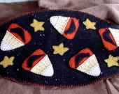 Fall Harvest Halloween Autumn Candy Corn Penny Rug Style Candy Corn  Black Crow Candle Mat  FITOFG Team