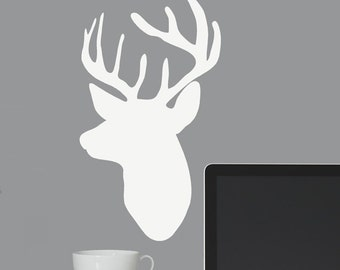 Deer Head Wall Decal, Deer Decor, Choose Your Size and Color, Deer Decal, Boy Wall Decal, Country Wedding Decoration, Hunting Vinyl Decal