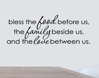 Bless The Food Before Us Vinyl Wall Decal Quote, Dining Room Decor, Kitchen Quotes, Family Decals, Love Decals, Kitchen Art vinyl Lettering