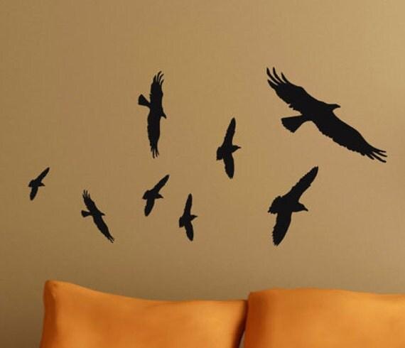 Flock of Birds Vinyl Wall Decals Flying Birds Wall Decal, Halloween Vinyl Wall Decals Decor, Window Decals,  classroom college dorm decor