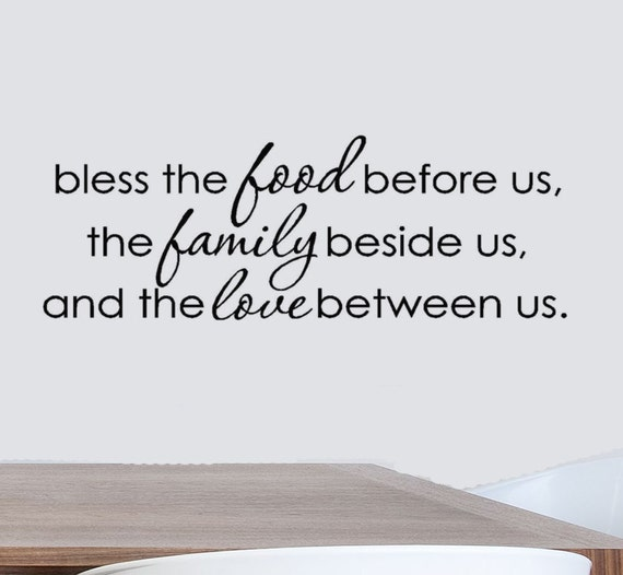 Bless The Food Before Us Vinyl Wall Decal Quote Dining Room
