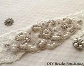Rhinestone applique, pearl applique, wedding sash applique, beaded patch for DIY wedding sash, bridal accessories