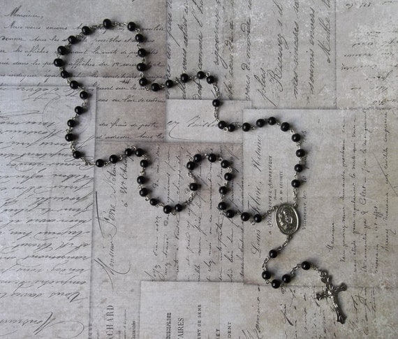 Father's Day Mid Century Modern Rosary With Black Jet Beads And Gothic Crucifix, Saint Joseph Protector Of Fathers, Carpenters, & Craftsmen