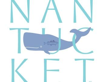 Nantucket Whale 8x8 giclee print