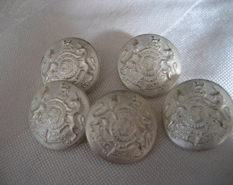 Set of 5 VINTAGE Silver Metal Shield Heraldic BUTTONS
