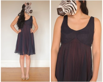 Vintage 60s Empire Waist Short Party Tank Dress with Swinging Pleated Chiffon Skirt | Medium