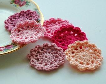 Crochet Flower Motifs - mini doilies pinks