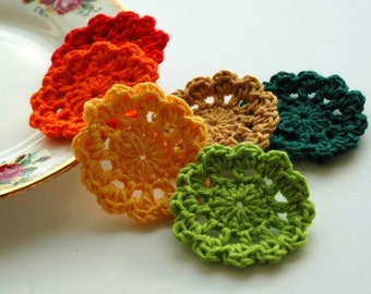 Crochet Flower Motifs - mini doilies - fall colours