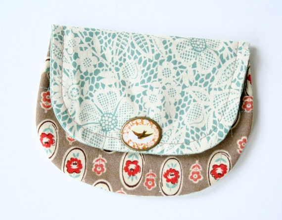 Business Card Wallet Faux Lace Brown Floral Prairie Cowgirl Aqua Bird Embellishment Eclectic