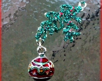 Red and Green Ornament Charm, Gold finished  with green glitter.