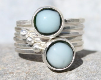 6 Silver Stacking Rings with Handmade Glass Cabochons and Silver Baubles