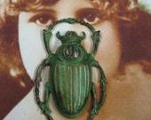 Verdigris Patina Large  Beetle  Stamping Pendant 820VER x2