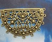 Brass Ox Plated Half Circle Ornate Filigree 11 rings  807BOX x2