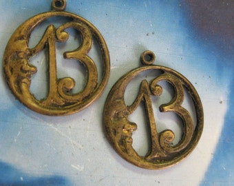 Hand Oxidized Patina Brass Moon with Lucky Number 13 Charms 2139HOX x2
