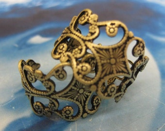 Brass Ox Plated Adjustable Filigree Ring Base  499BOX x2