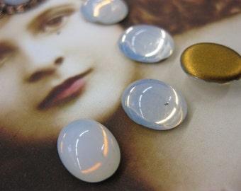Vintage Glass Opaline Cabochons  Incl. Brass Connectors 2194VIN x6