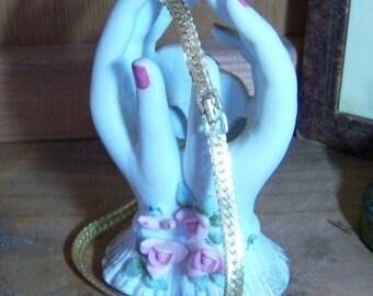 Vintage Signed Monet Gold Tone 16 inch Brushed Herringbone Necklace
