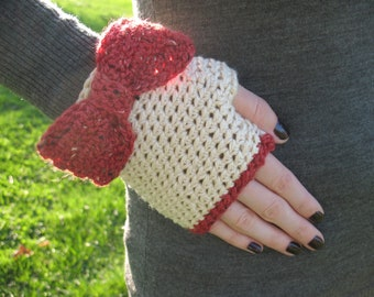 Lady Bows | Handmade Crochet Gloves Fingerless Gloves Ivory Pima Cotton with Brick Red Tweed Wool Bows - One of a Kind - Ready to Ship