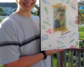 Guest Signature Poster- Personalized for Sweet 16 GRADUATION Birthday ANNIVERSARY- mounted on wood