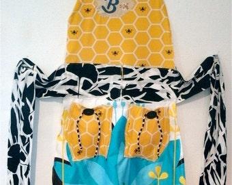 B  hold for kw  HONEY BEE Honeybee Artisan APRON Wearable Art- mybonny Fabric Collage