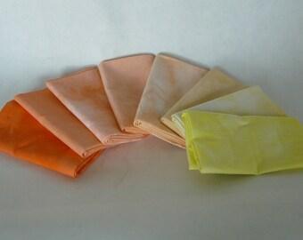 hand dyed cotton fat quarters, 8 deep orange to lemon yellow, ombre