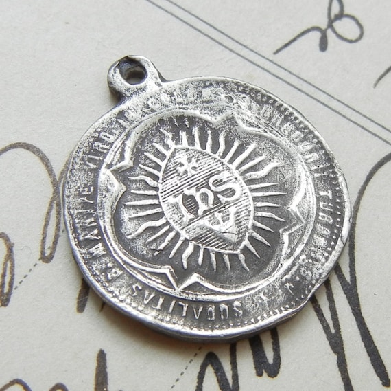 Fine Silver Ihs Jesuit Medal Holy Name Of Jesus Hand Cast