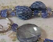 Blue grey pendant, Sapphire Beaded Lanyard - Iceberg Blue CLEARANCE