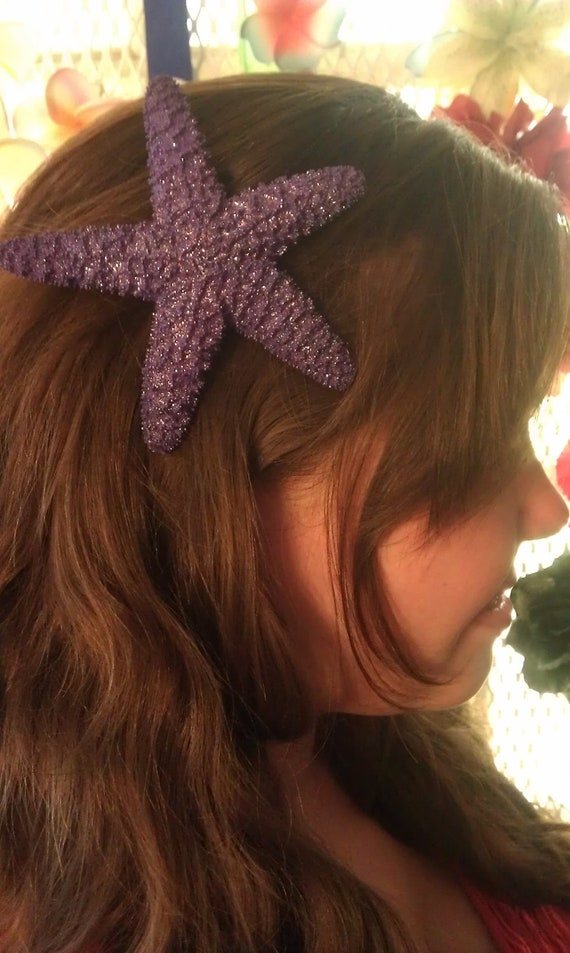 Starfish, purple, purple starfish, ocean, Beach wedding, tropical wedding, bridal, starfish barrette, starfish hair clip, fish, ocean clip