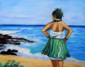 Hula Girl by the Beach art print 8x10 from Kauai Hawaii blue green teal sand