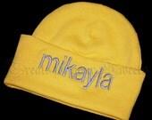 Handmade Newborn Personalized Embroidered Beanie Hat in Sunshine Yellow BOY or GIRL