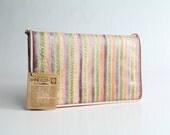 70s vintage Anne Klein handbag / vintage snakeskin patchwork purse / vintage pastel leather envelope clutch