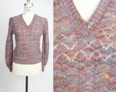 Vintage Scalloped Pointelle V-Neck Sweater / s