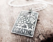 Sea turtles necklace in silver, sea turtle jewelry