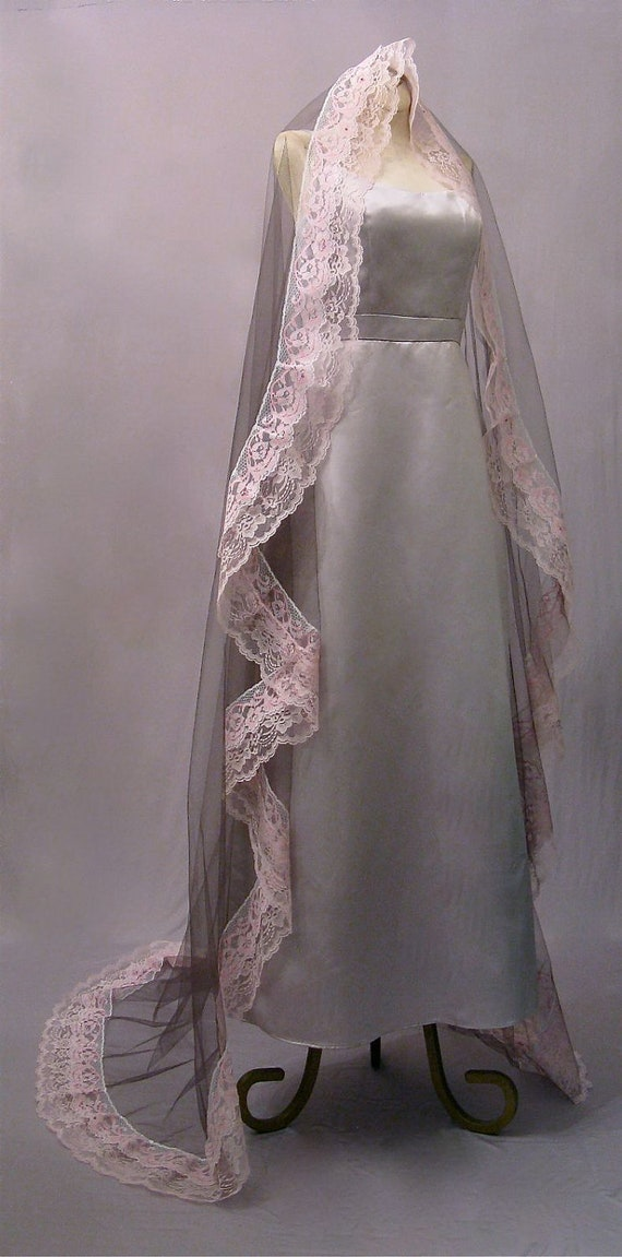 Dark Gray Mantilla Wedding Veil With Pink Lace And Crystals - RESERVED FOR SUZANNEJ