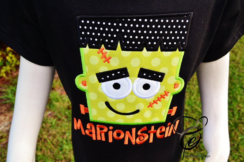 Frankenstein Applique T Shirt By Elegant By Elegantembdesigns