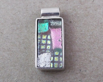 One of a Kind Sterling Silver & Dichroic Glass Pendant - Bargain (D4)