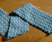 Crochet Adult Neck Wrap or Child's buttoned scarf in pale blue