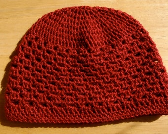 Hand Crochet Hat in deep red- Adult Size L