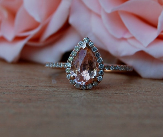 on hold -1.59ct Pear shape Peach sapphire in 14k rose gold diamond ring engagement ring