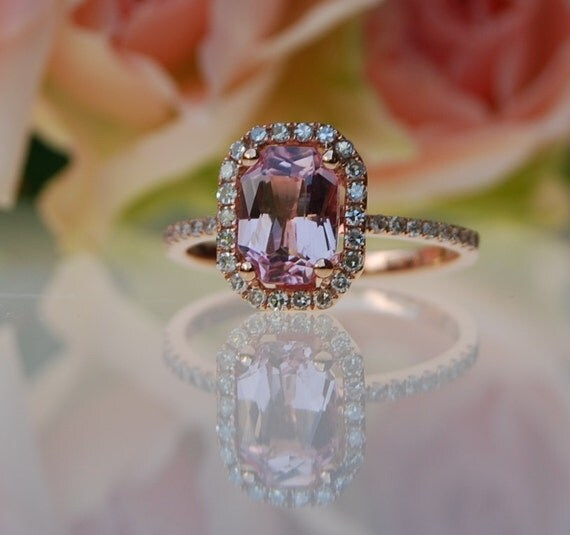 1.62ct emerald cut Peach sapphire Champagne sapphire ring diamond ring 14k rose gold Engagement ring