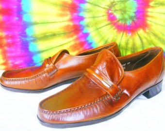 11 C mens vintage brown leather FLORSHEIM IMPERIAL loafers shoes NOS