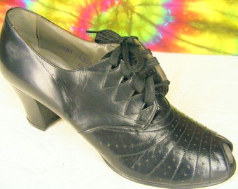 6-6.5 vintage 40's lace-up peep-toe oxfords ENNA JETTICS black leather granny shoes NOS