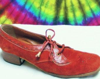 7-7.5 vtg 70s brown suede FLORSHEIM lace-up oxfords shoes