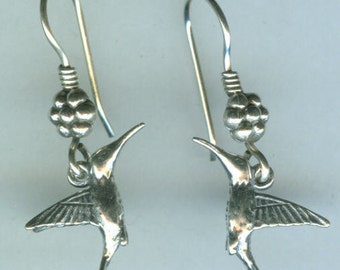 Sterling Silver HUMMINGBIRD  Earrings - 3D - French Earwires - Wildlife, Totem